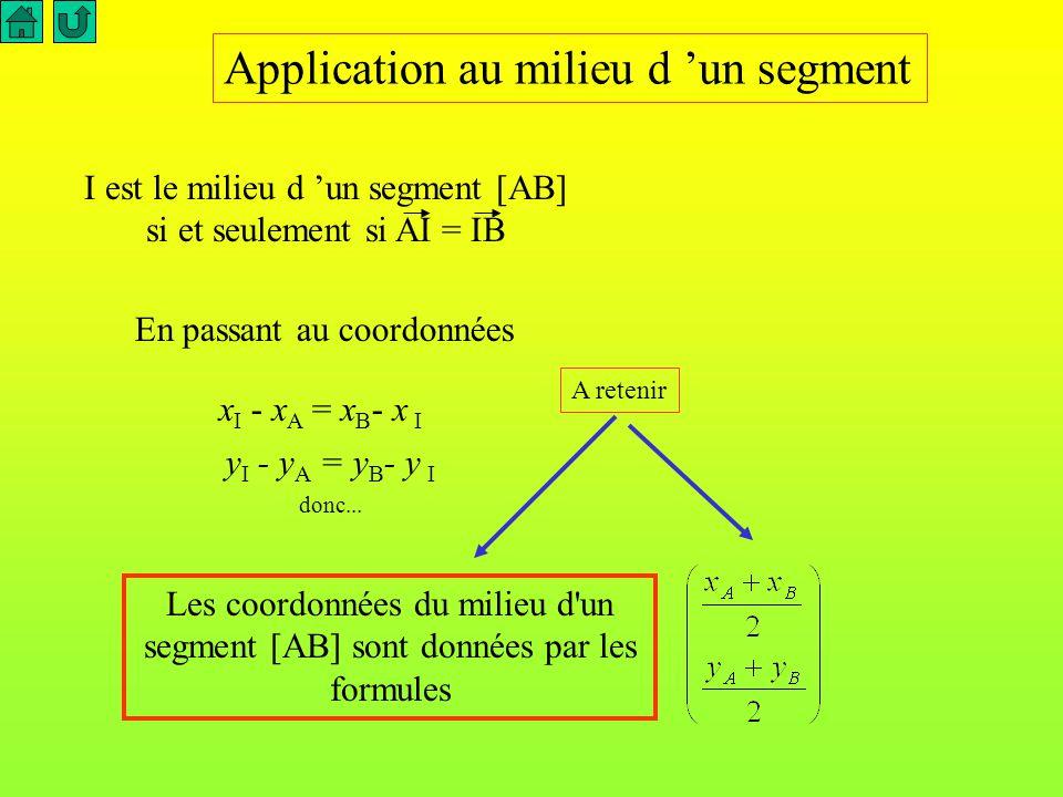 I est le milieu d 'un segment [AB] si et seulement si AI = IB
